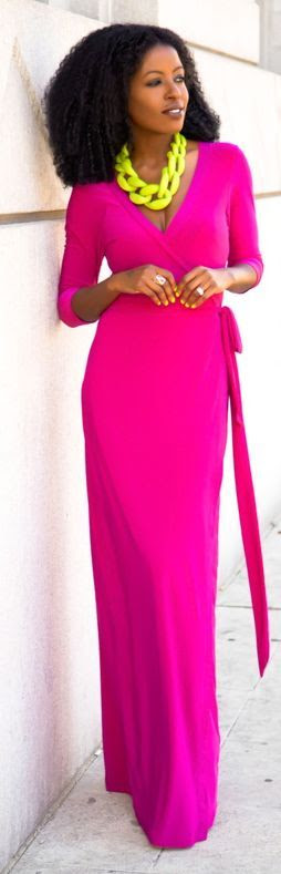Shoxie Magenta Wrap Maxi Dress LBV