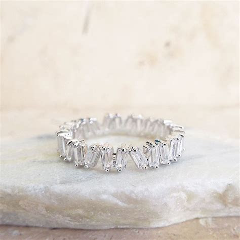 CZ Diamond Baguette wedding Band White gold sterling