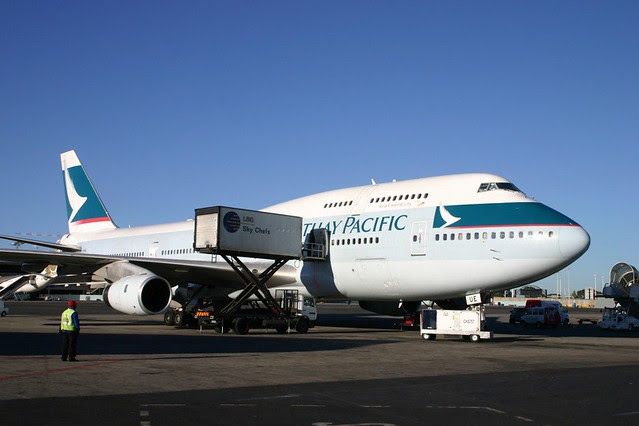 Cathay Pacific 747 in Johannesburg, South Africa