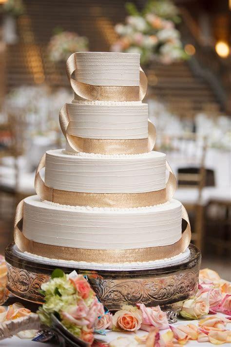 Ivory Wedding Cake, Gold Ribbon