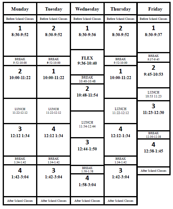 Daily Schedule Timetable