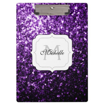 Beautiful Purple glitter sparkles Monogram Clipboards