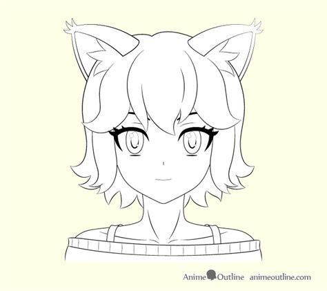 draw anime cat girl ears step  step animeoutline