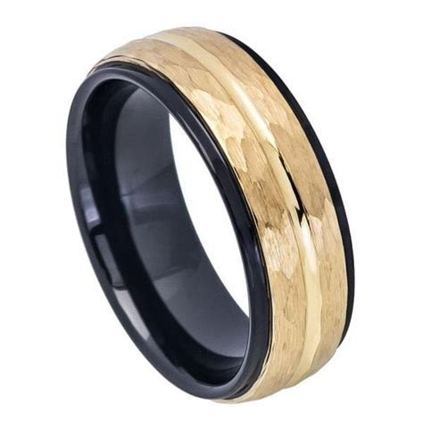 Mens Tungsten Wedding Band Ring black Yellow Gold Hammered