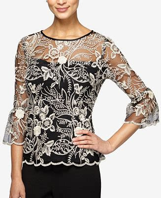 alex evenings embroidered illusion top tops women macys