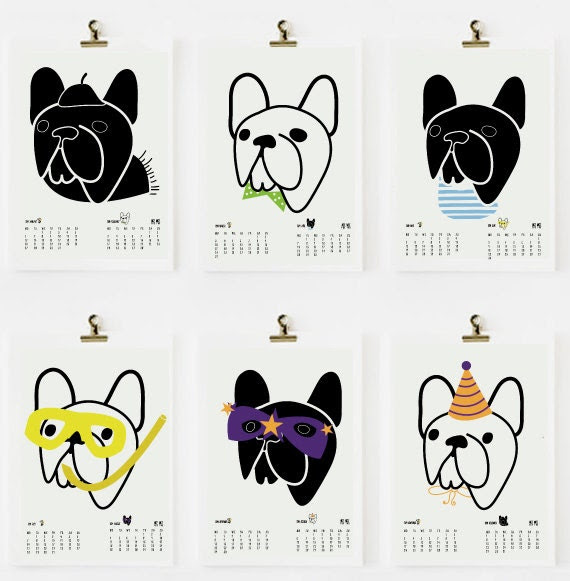FRENCH BULLDOG CALENDAR pdf printable calendar 2014 - art print by nicemiceforyou