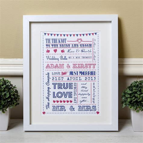 personalised typography wedding gift print by lovely
