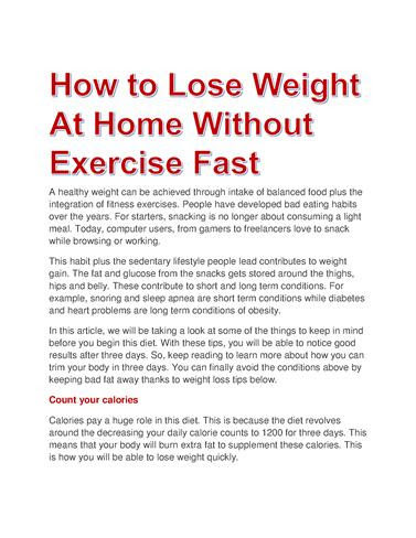 How To Lose Weight At Home Without Exercise Fast Authorstream