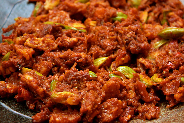 Sambal Petai with Tempeh and Ikan Bilis
