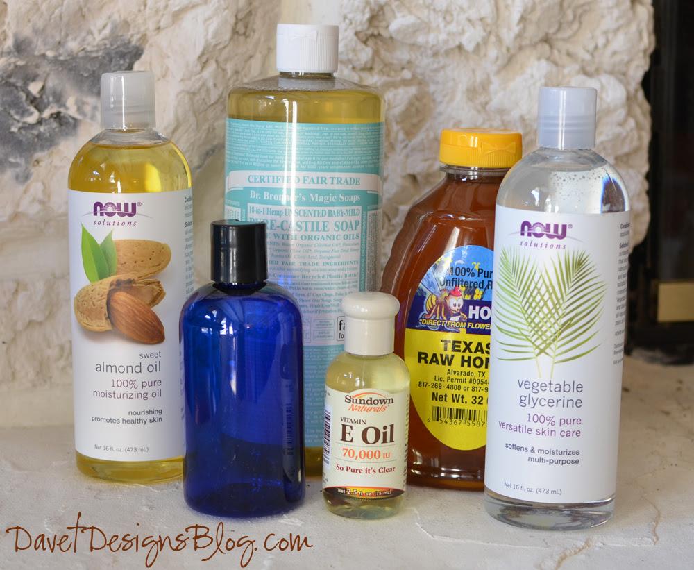 Homemade DIY Ultra Moisturizing Body Wash supplies