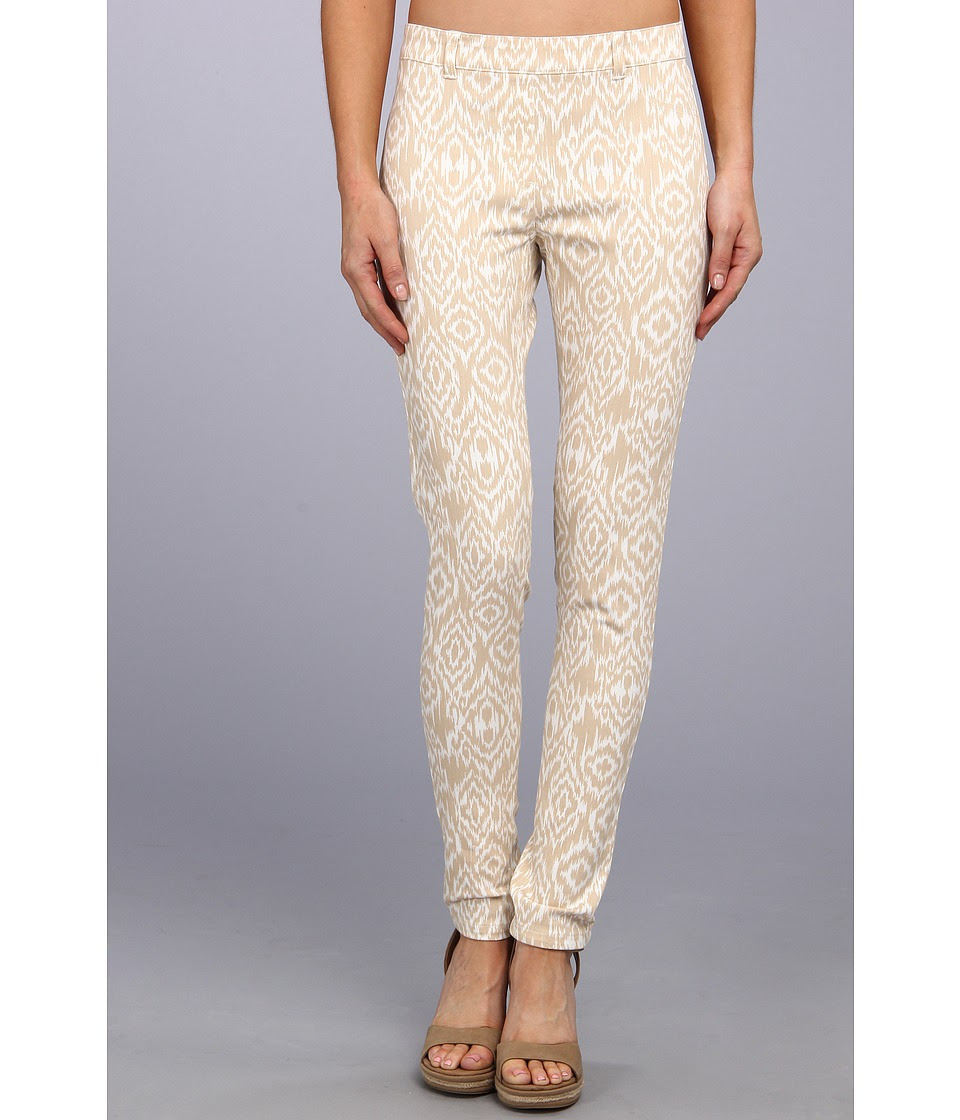 Christin Michaels - Comfort Waist Stretch Ikat Jean (Beige\/White) Women's Casual Pants