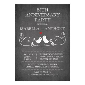 Vintage Chalkboard Love Birds Anniversary Party Cards