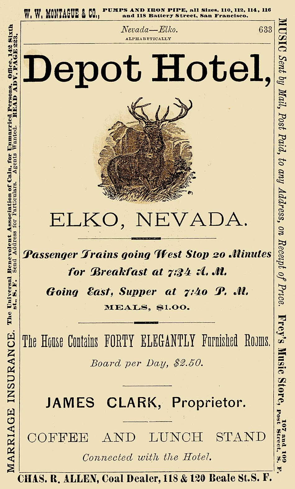 Depot Hotel Advertisement, Elko, Nevada. Courtesy of James Barkely and the Northeastern Nevada Museum.