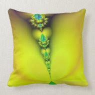 Fractal yellow Love Cushion throwpillow