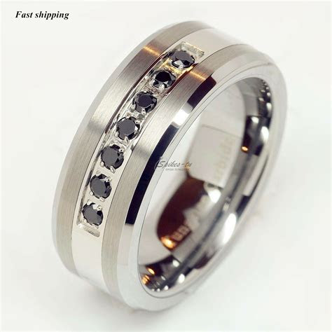 luxury atop tungsten ring black diamonds mens wedding band