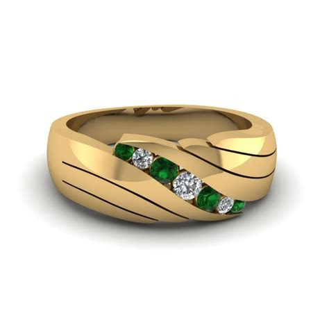 Buy Classy Emerald Mens Wedding Rings   Fascinating Diamonds