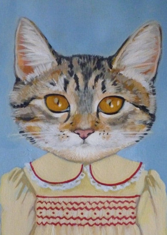"""Framed Fine Art Print- """"Margaret"""" - A Cat in Clothes -Fine Art Giclee Print From Painting by Heather Mattoon"""