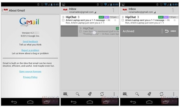 Apparent Gmail for Android 42 leak shows off pinchtozoom, swipe features