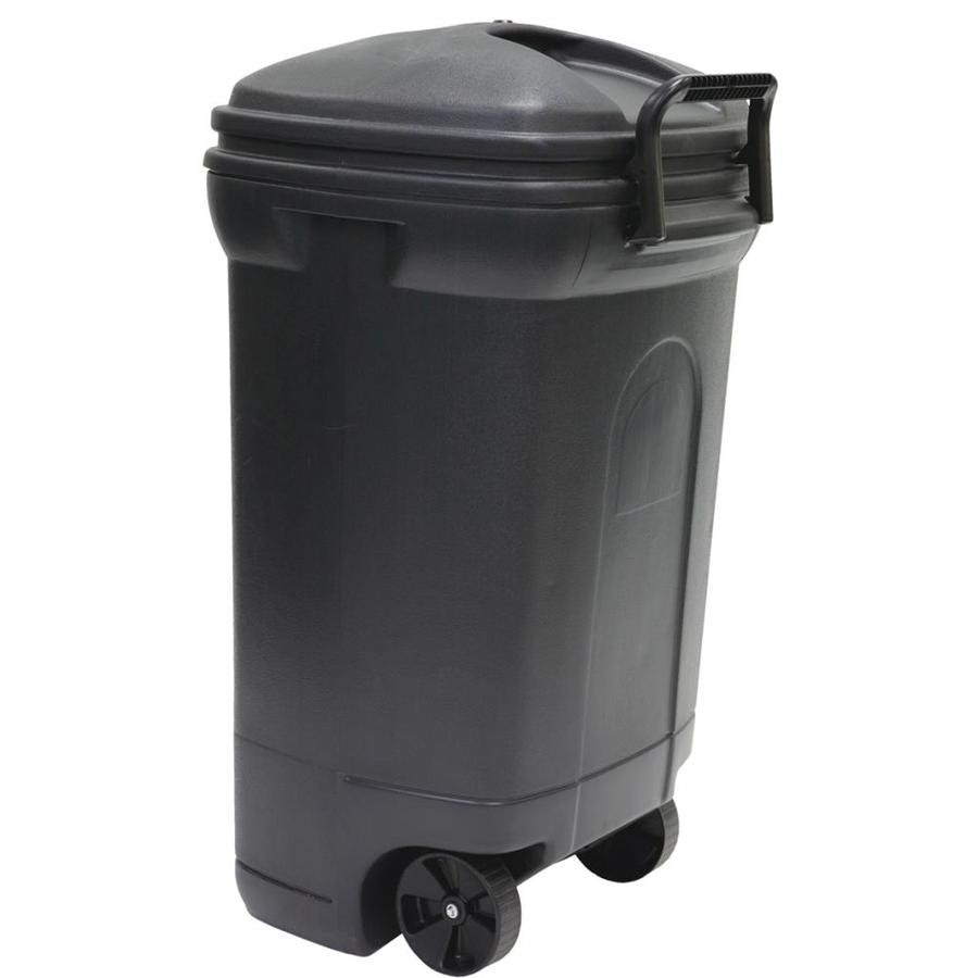 United Solutions 34 Gallon Gray Outdoor Garbage Can In The Trash Cans Department At Lowes Com