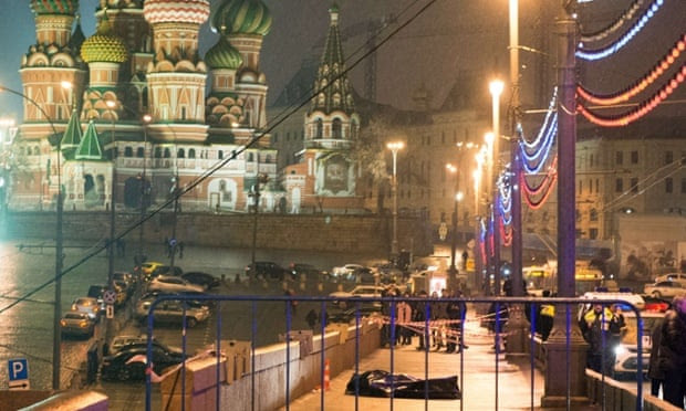 The body of Russian opposition politician Boris Nemtsov lies near St Basil's cathedral.