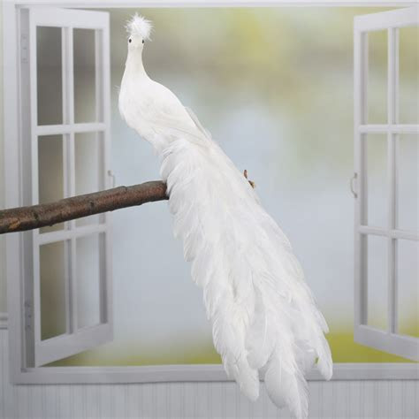 White Closed Tail Feathered Artificial Peacock   Birds