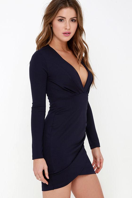 Navy blue bodycon dresses piece