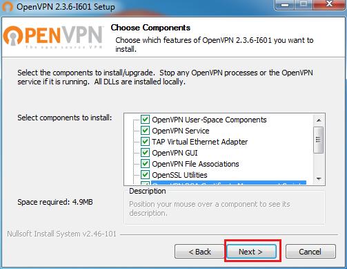 OpenVPN installation components. ESCAPE='HTML'