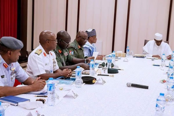 Buhari resumes at old Aso Rock office, meeting with Service Chiefs