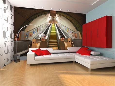 GIANT WALLPAPER WALL SUBWAY TRAIN STATION LONDON