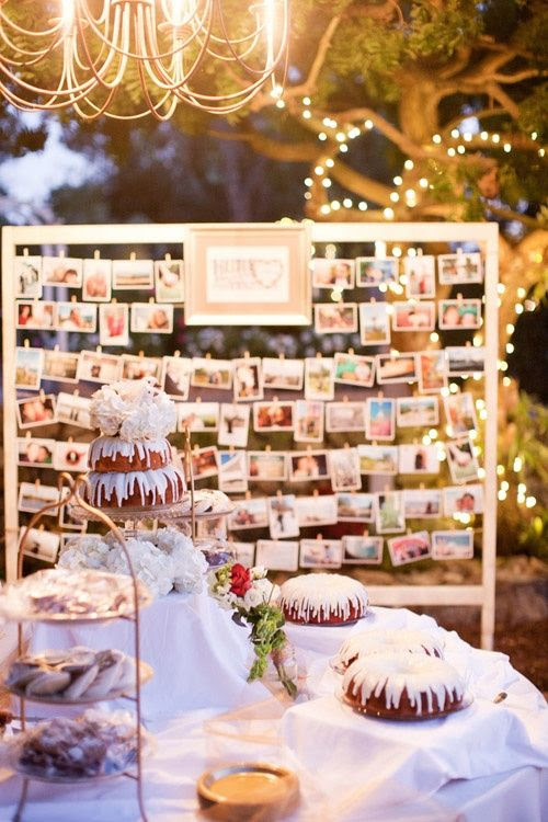 Everyone brings their favorite picture with the bride or groom. What a lovely idea and totally adaptable.