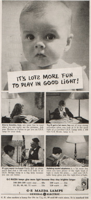 GE Electric Light ad from 1939 - It's lots more fun to play in good light