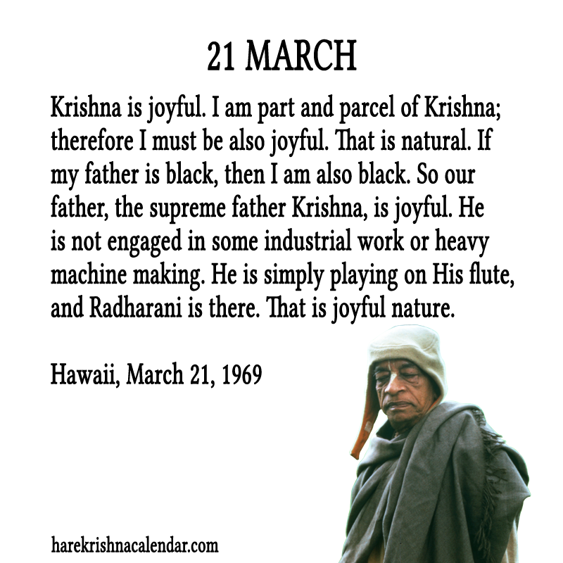 Srila Prabhupadas Quotes In March Hare Krishna Calendar Part 2