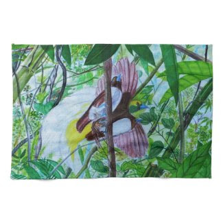 Paradise Birds in Watercolor Hand Towel