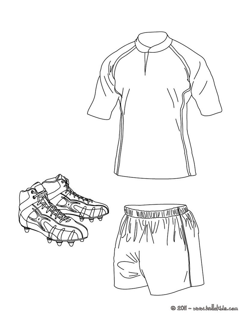 Rugby Shirt Shorts And Shoes Coloring Pages Hellokidscom