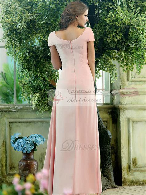 Modest A line Chiffon Short Sleeves Cowl Neck Ankle length