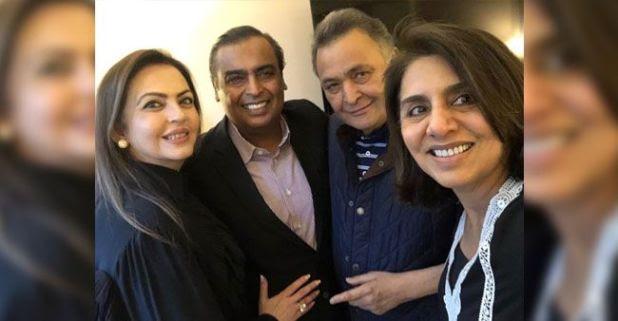 Mukesh Ambani And Nita Ambani pay a visit to Rishi Kapoor in New York