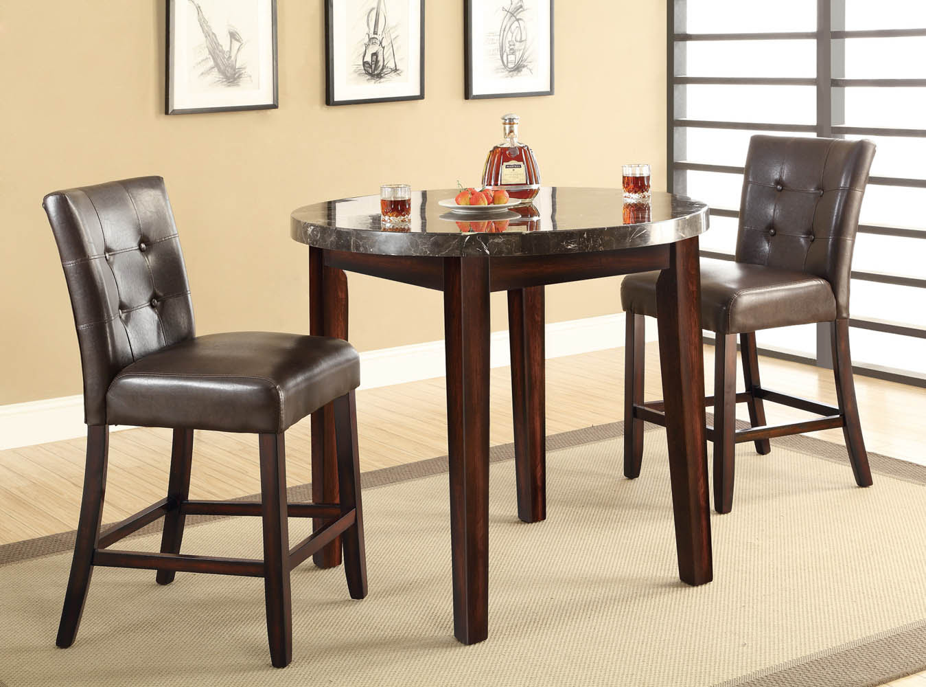 3 Piece Marble Top Dining Table Set