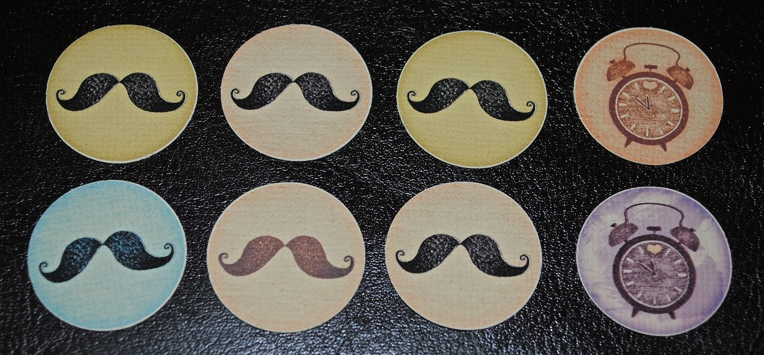 Handmade mustache Seals/Stickers