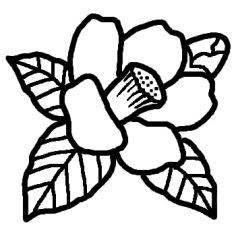 ツバキ椿白黒冬花植物の無料イラストミニカットクリップ