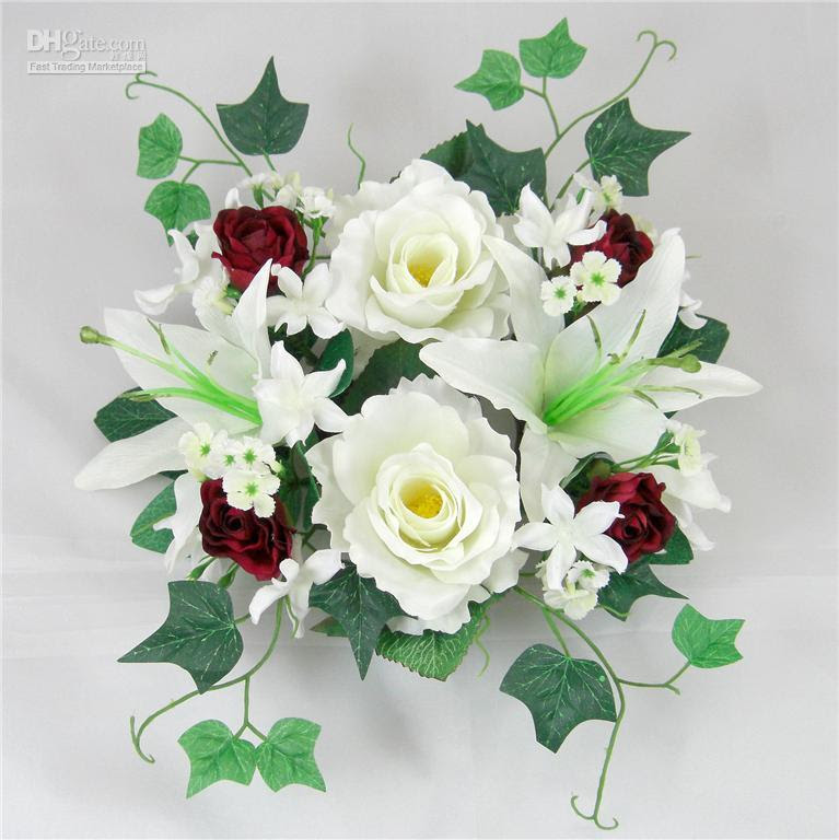Wholesale 6 ps 25cm Wedding Silk Flower Candle Ring Br aimagelink