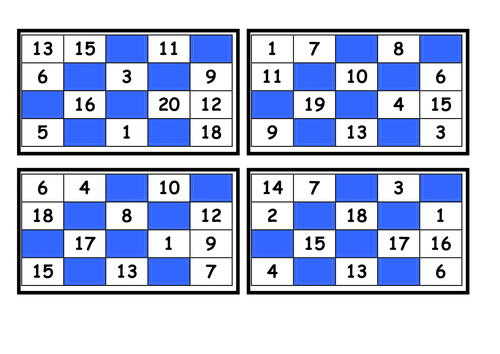 Printable Bingo Cards Numbers 1 20 C Ile Web E Hukmedin