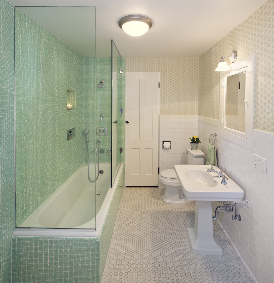Baroque Tub Enclosures In Bathroom Traditional With Vintage 1940 S Next To Tub Shower Door Alongside Tiles Around Tub And Bathroom Tile Colors