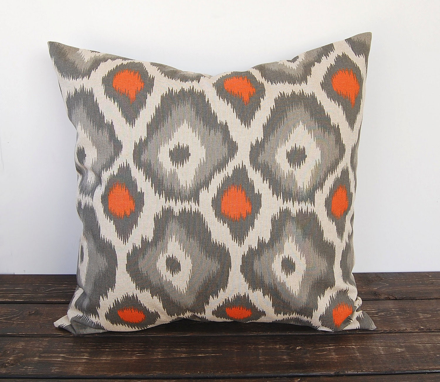"Ikat Pillow cover 16"" x 16"" one orange gray and oatmeal cushion cover decorative throw pillow covers peacock modern pillow"