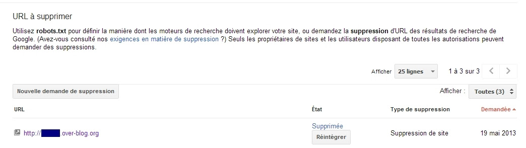 Suppression de site sur Google