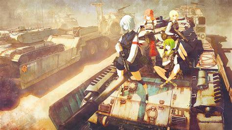 wallpaper painting gun anime girls weapon tank