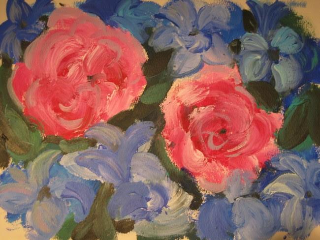Fleurs Roses Et Bleuesacrylique Sur Papierartiste Peintre Florence