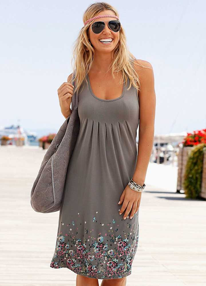 beachtime taupe floral beach dress  swimwear365