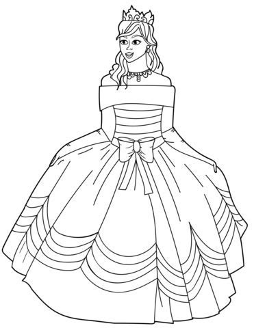 Princess in Ball Gown Off the Shoulder Dress coloring page