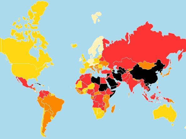 La mappa 2016 della classifica sulla libertà di stampa (Foto da rsf.org)