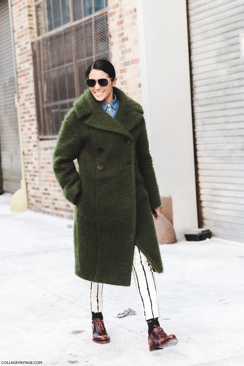 New_York_Fashion_Week-Fall_Winter_2015-Street_Style-NYFW-Green_Coat-Striped_Trousers-OXfords-